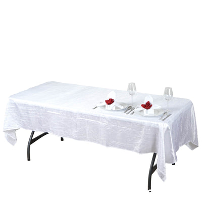 "60x102"" White Crinkle Taffeta Rectangular Tablecloth"