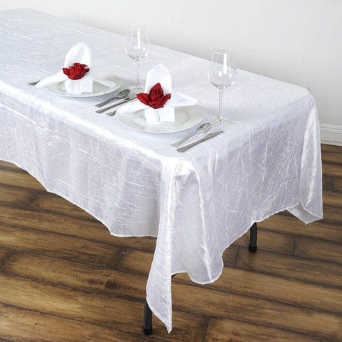 "60x102"" White Crinkle Crushed Taffeta Rectangular Tablecloth"