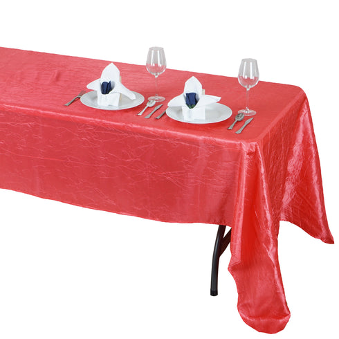"60x126"" Coral Crinkle Taffeta Rectangular Tablecloth"