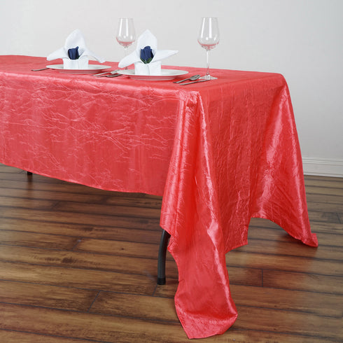 "60x126"" Coral Crinkle Crushed Taffeta Rectangular Tablecloth"