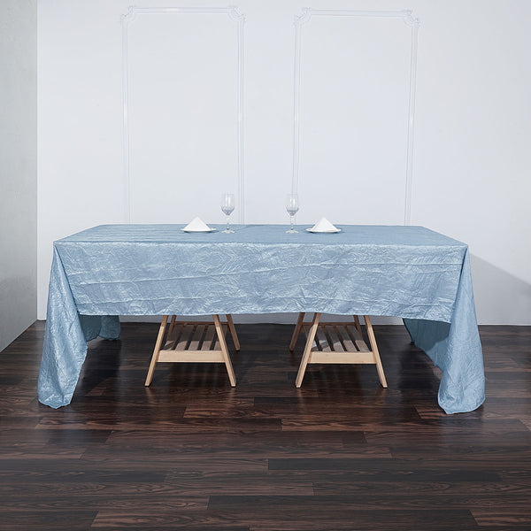 "60""x126"" Dusty Blue Crinkle Crushed Taffeta Rectangular Tablecloth"