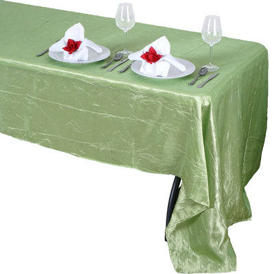 "60x126"" Apple Green Crinkle Taffeta Rectangular Tablecloth"