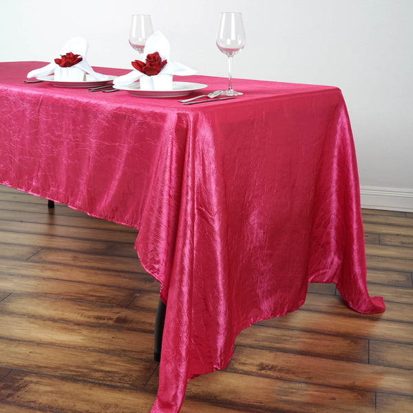 "60""x126"" Fushia Crinkle Crushed Taffeta Rectangular Tablecloth"