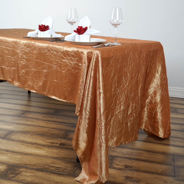 "60""x126"" Gold Crinkle Crushed Taffeta Rectangular Tablecloth"