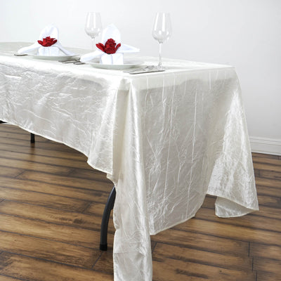 "60x126"" Ivory Crinkle Crushed Taffeta Rectangular Tablecloth"
