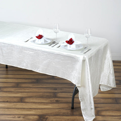 "60x126"" Ivory Crinkle Taffeta Rectangular Tablecloth"