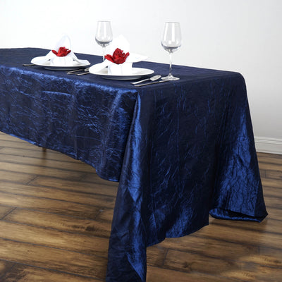 "60x126"" Navy Blue Crinkle Crushed Taffeta Rectangular Tablecloth"