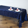 "60x126"" Navy Blue Crinkle Taffeta Rectangular Tablecloth"