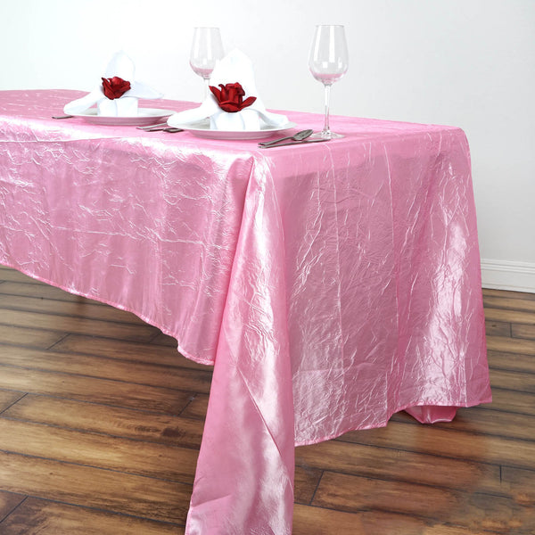 "60""x126"" Pink Crinkle Crushed Taffeta Rectangular Tablecloth"
