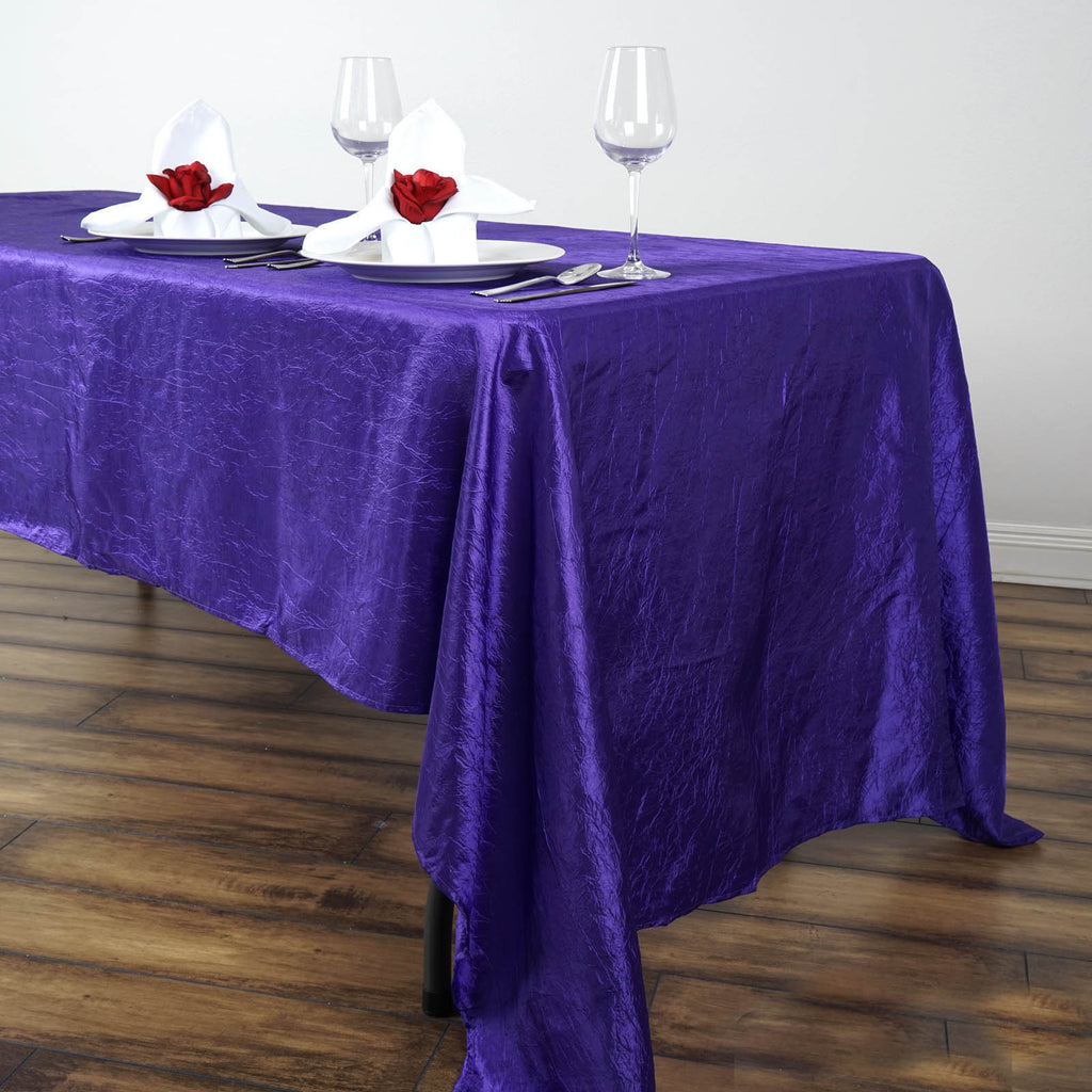"Purple 60x126"" Crinkle Taffeta Tablecloths"