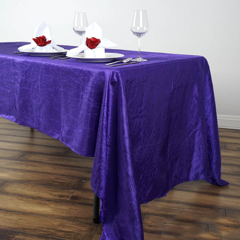 "60x126"" Purple Crinkle Crushed Taffeta Rectangular Tablecloth"