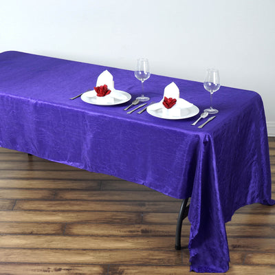 "60x126"" Purple Crinkle Taffeta Rectangular Tablecloth"