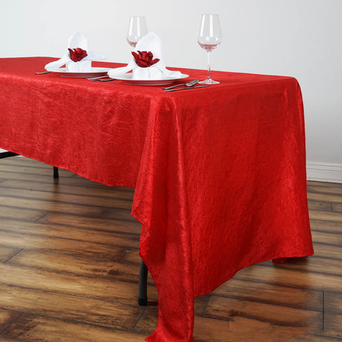 "60x126"" Red Crinkle Crushed Taffeta Rectangular Tablecloth"