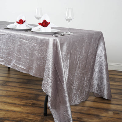 "60x126"" Silver Crinkle Crushed Taffeta Rectangular Tablecloth"