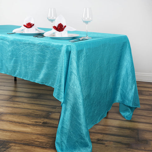 "60x126"" Turquoise Crinkle Crushed Taffeta Rectangular Tablecloth"