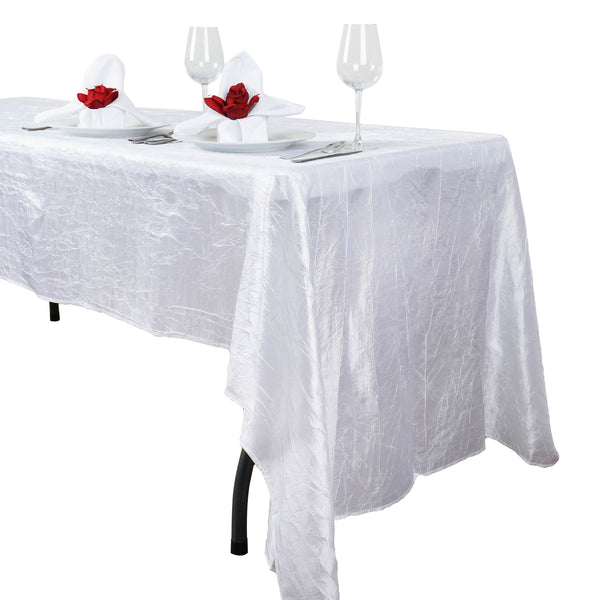 "60""x126"" White Crinkle Crushed Taffeta Rectangular Tablecloth"