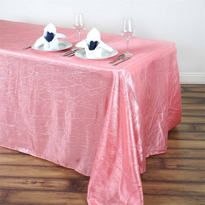 "Rose Quartz 90x132"" Crinkle Taffeta Tablecloths"