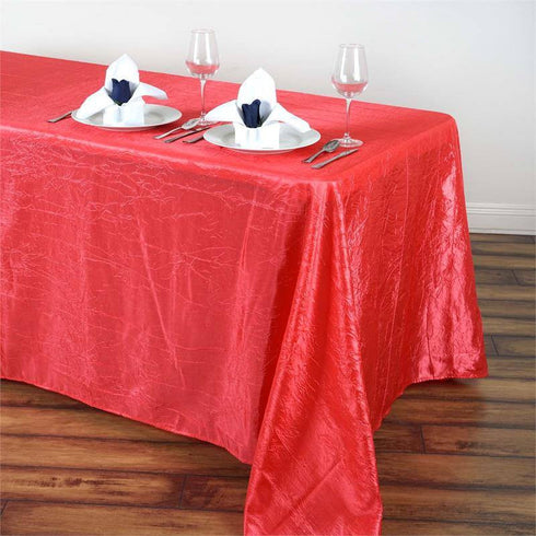 "90x132"" Coral Crinkle Crushed Taffeta Rectangular Tablecloth"