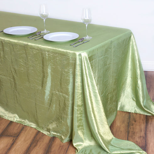 "90x132"" Apple Green Crinkle Crushed Taffeta Rectangular Tablecloth"