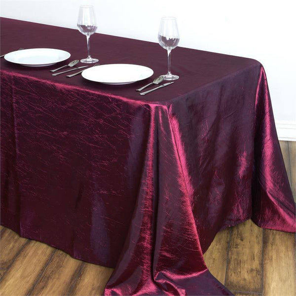 "90x132"" Burgundy Crinkle Crushed Taffeta Rectangular Tablecloth"