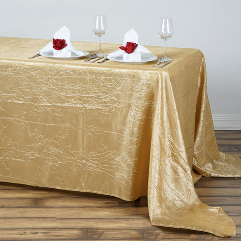 "90x132"" Champagne Crinkle Crushed Taffeta Rectangular Tablecloth"
