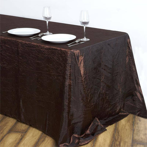 "Chocolate 90x132"" Crinkle Taffeta Tablecloths"
