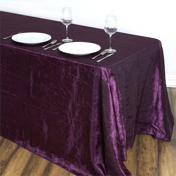 "90""x132"" Eggplant Crinkle Crushed Taffeta Rectangular Tablecloth"