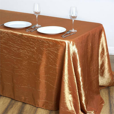 "90x132"" Gold Crinkle Crushed Taffeta Rectangular Tablecloth"