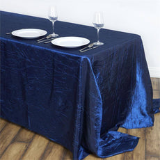 "Navy 90x132"" Crinkle Taffeta Tablecloths"