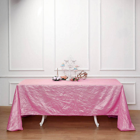 "90x132"" Pink Crinkle Crushed Taffeta Rectangular Tablecloth"