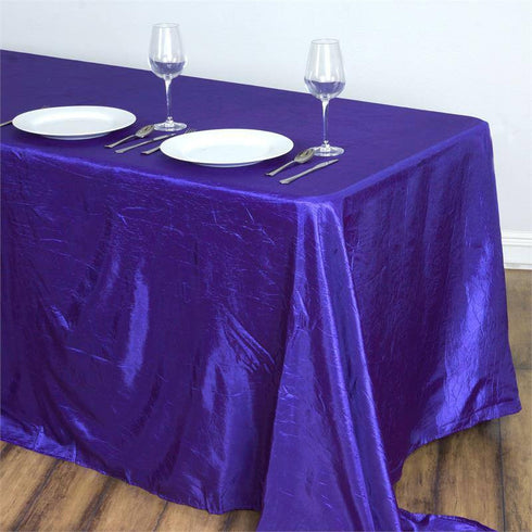 "Purple 90x132"" Crinkle Taffeta Tablecloths"