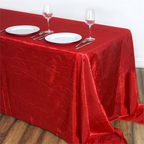 "90""x132"" Red Crinkle Crushed Taffeta Rectangular Tablecloth"