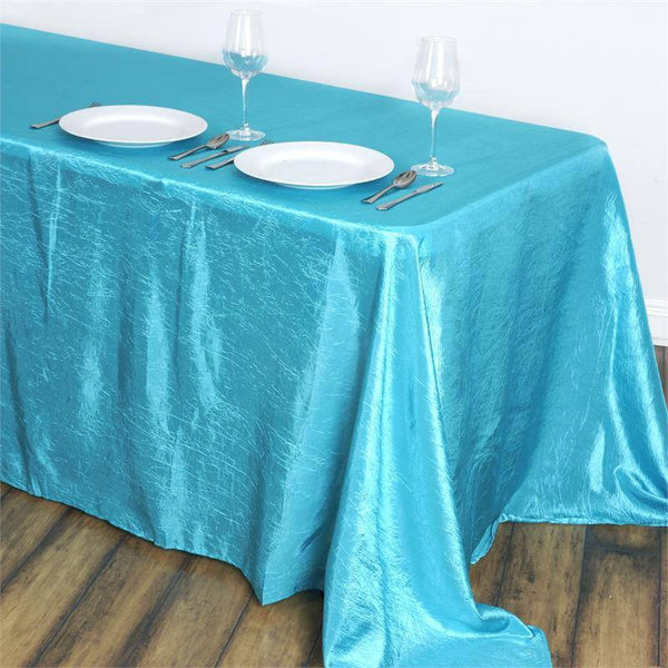 "90""x132"" Turquoise Crinkle Crushed Taffeta Rectangular Tablecloth"