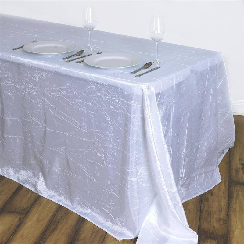"White 90x132"" Crinkle Taffeta Tablecloths"