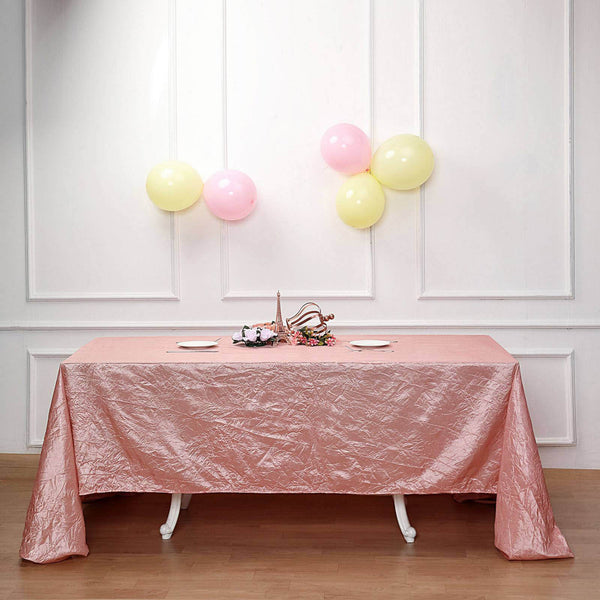 "90""x156"" Dusty Rose Crinkle Crushed Taffeta Rectangular Tablecloth"