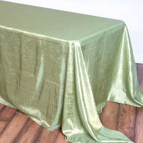 "90x156"" Apple Green Crinkle Taffeta Rectangular Tablecloth"