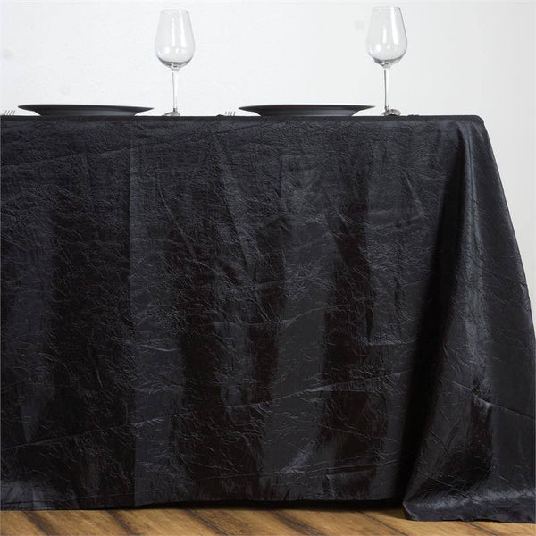 "90""x156"" Black Crinkle Crushed Taffeta Rectangular Tablecloth"