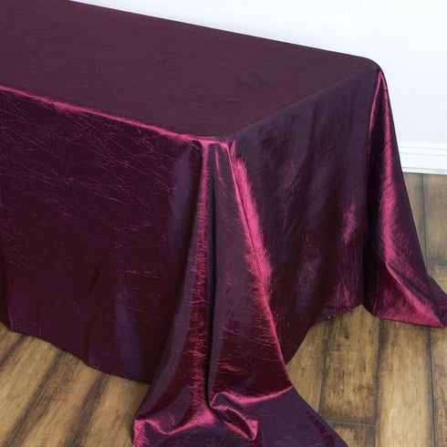 "90x156"" Burgundy Crinkle Crushed Taffeta Rectangular Tablecloth"
