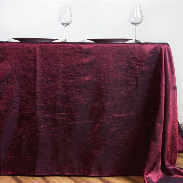 "90""x156"" Burgundy Crinkle Crushed Taffeta Rectangular Tablecloth"