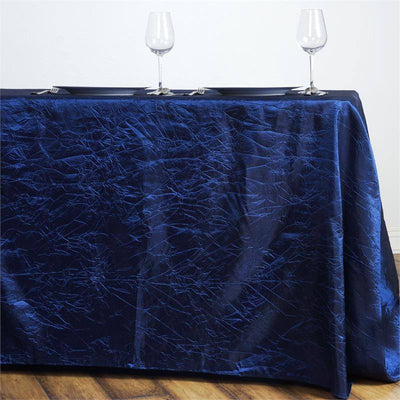 "Navy 90x156"" Crinkle Taffeta Tablecloth"