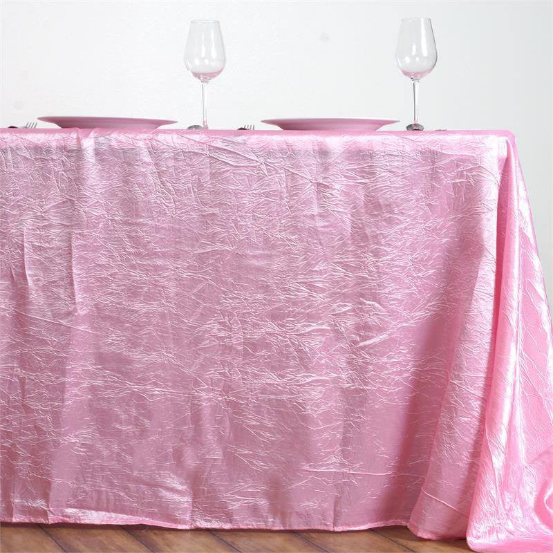 "Pink 90x156"" Crinkle Taffeta Tablecloth"