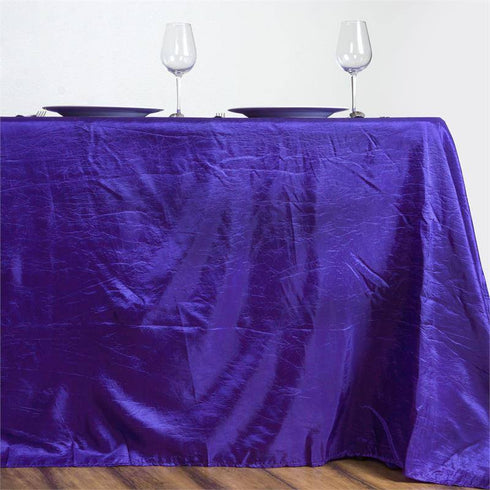 "Purple 90x156"" Crinkle Taffeta Tablecloth"