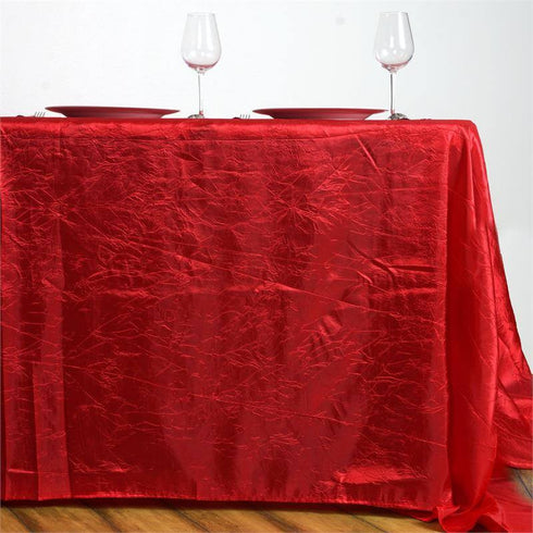 "90x156"" Red Crinkle Crushed Taffeta Rectangular Tablecloth"