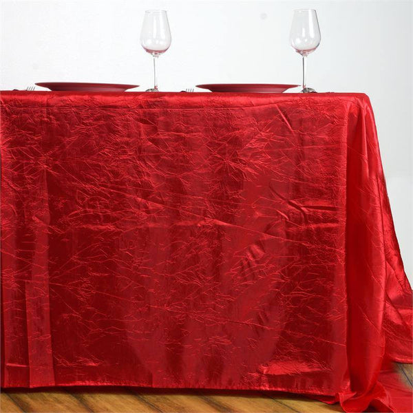 "90""x156"" Red Crinkle Crushed Taffeta Rectangular Tablecloth"