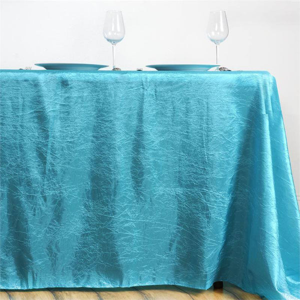"90""x156"" Turquoise Crinkle Crushed Taffeta Rectangular Tablecloth"