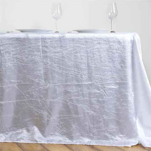 "90x156"" White Crinkle Crushed Taffeta Rectangular Tablecloth"