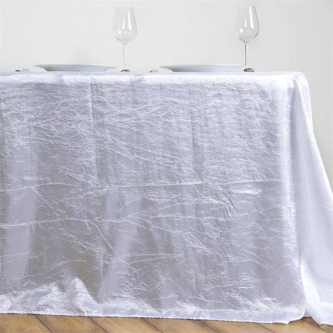 "White 90x156"" Crinkle Taffeta Tablecloth"