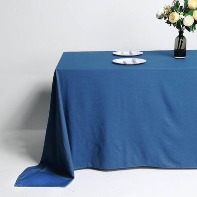 "90""x132"" Premium Dark Blue Faux Denim Polyester Rectangular Tablecloth"