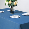 "90""x156"" Premium Dark Blue Faux Denim Polyester Rectangular Tablecloth"