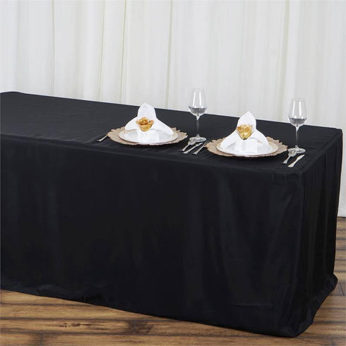 4FT Fitted BLACK Wholesale Polyester Table Cover Wedding Banquet Event Tablecloth
